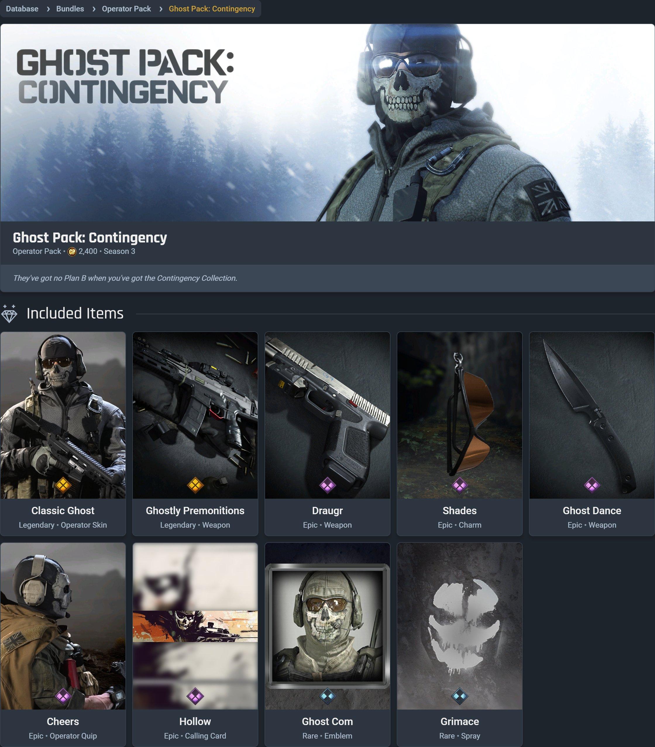 Ghost Pack Contingency bundle Modern Warfare