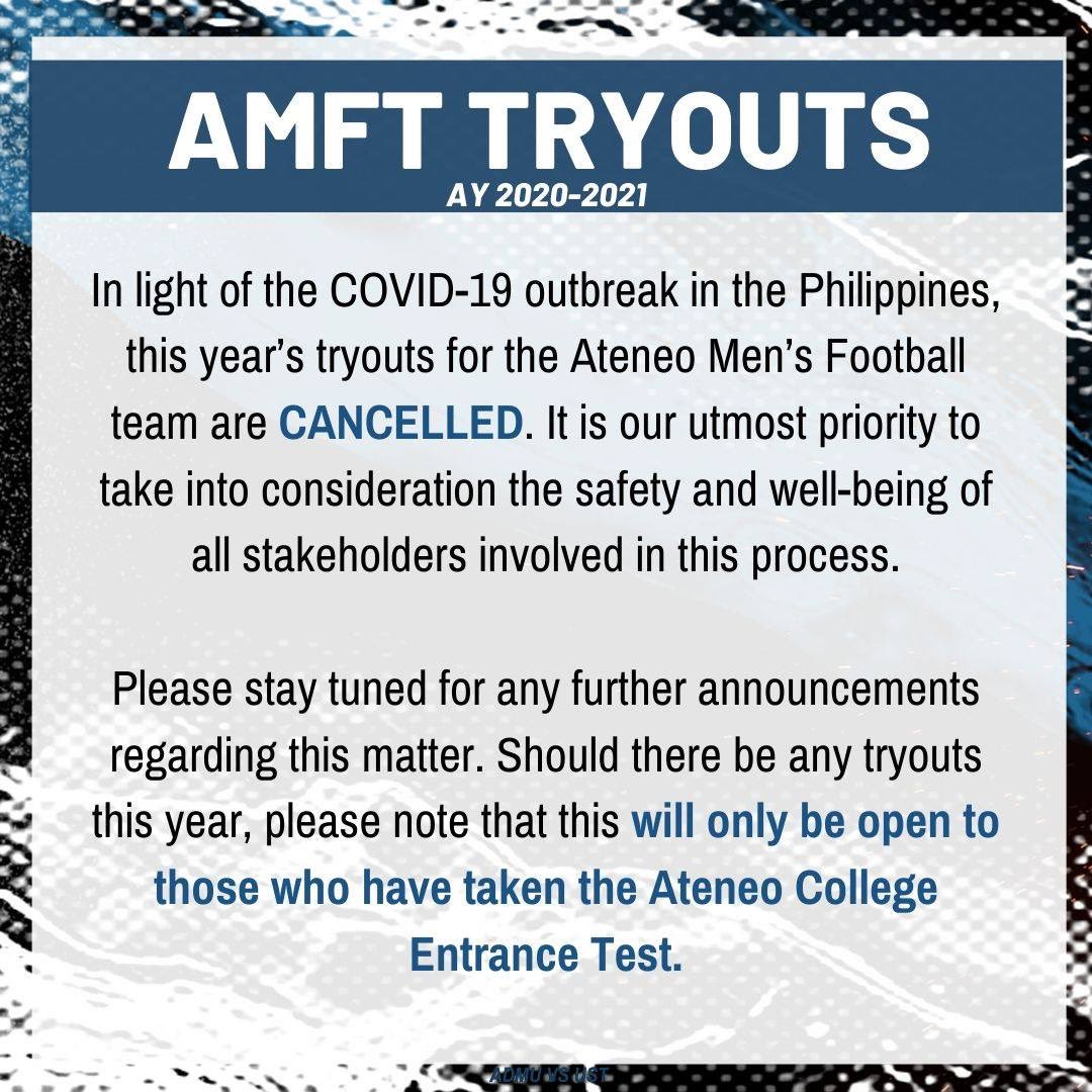 Official statement of the Ateneo Mens Football Team regarding tryouts for academic year 2020-2021