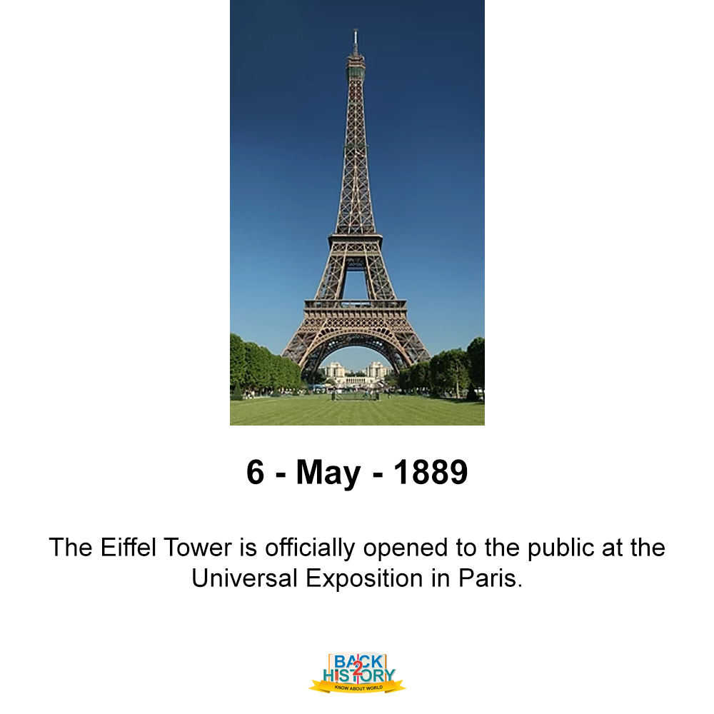 6 - May - 1889 – The Eiffel Tower is officially opened to the public at the Universal Exposition in Paris.  #History #WorldHistory #Historymemes #WorldHistorymemes #eiffeltower #Paris #Onthisday #onthisdayinHistory #Onthisdaymemes #Back_2_History #Back2History #backtohistorypic.twitter.com/nMNUzYSUhR