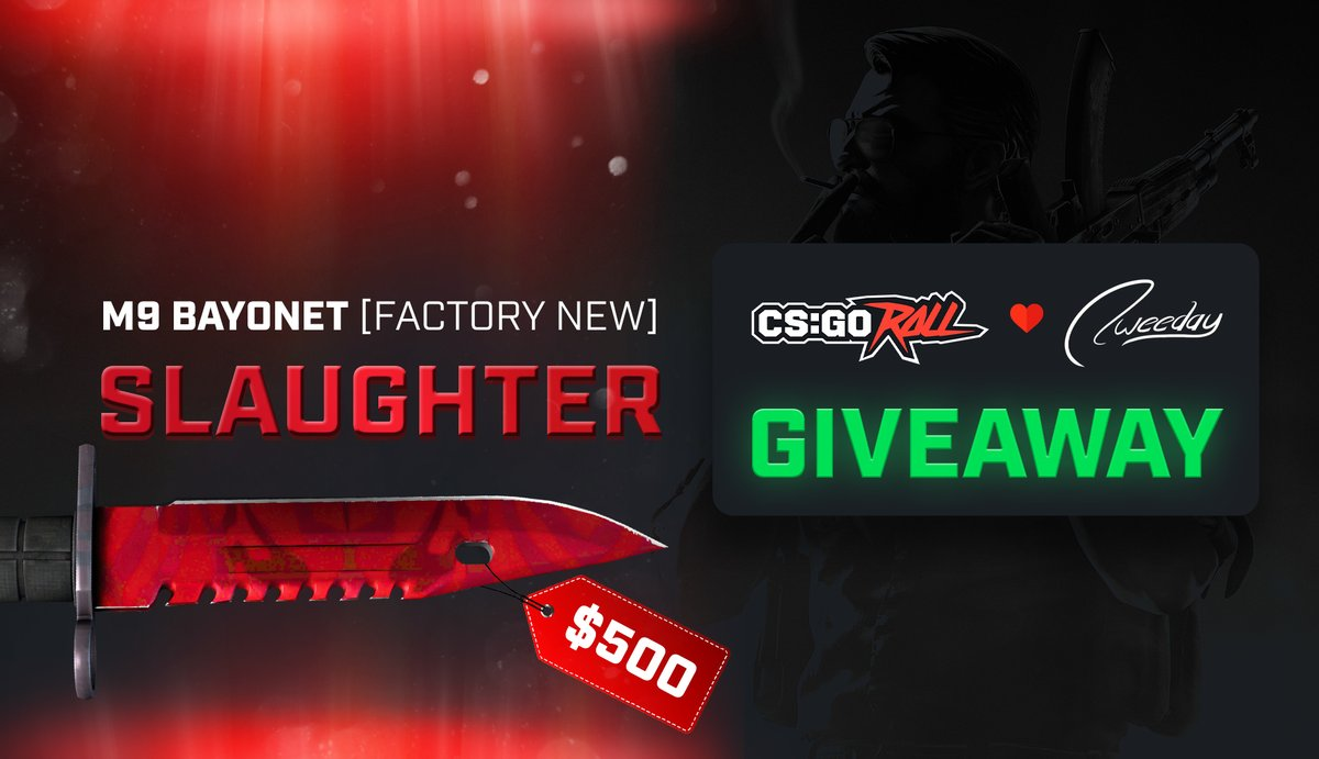 Another giveaway? A $500 knife skin?  ‼️ ★ M9 Bayonet | Slaughter (Factory New) Giveaway ‼️  To have a chance at winning: - Follow @CSGORoll & me - RT - Claim your 3 FREE Cases here: https://t.co/DxN5jisyu3  GL & HF 🧐 Winner drawn and announced in 1 week from now! #ad https://t.co/oBjMPyc0fC