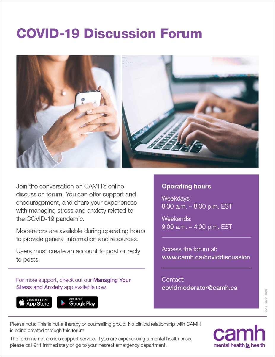 Getting support from others is one way to feel a sense of community during #COVID19. Join the CAMH COVID-19 Discussion Forum to share your experiences, tips and advice at  https://t.co/3opv32qJ4Y  We're in this together. #ApartNotAlone #MentalHealthWeek https://t.co/k7wzKGcTXR