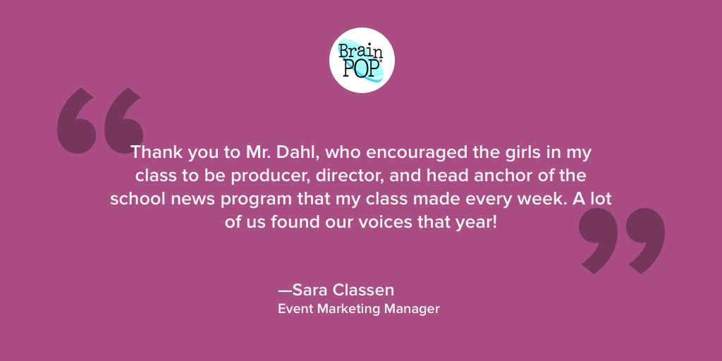 For #TeacherAppreciation Week, BrainPOP's own Sara Classen shares her thanks! #ThankATeacher