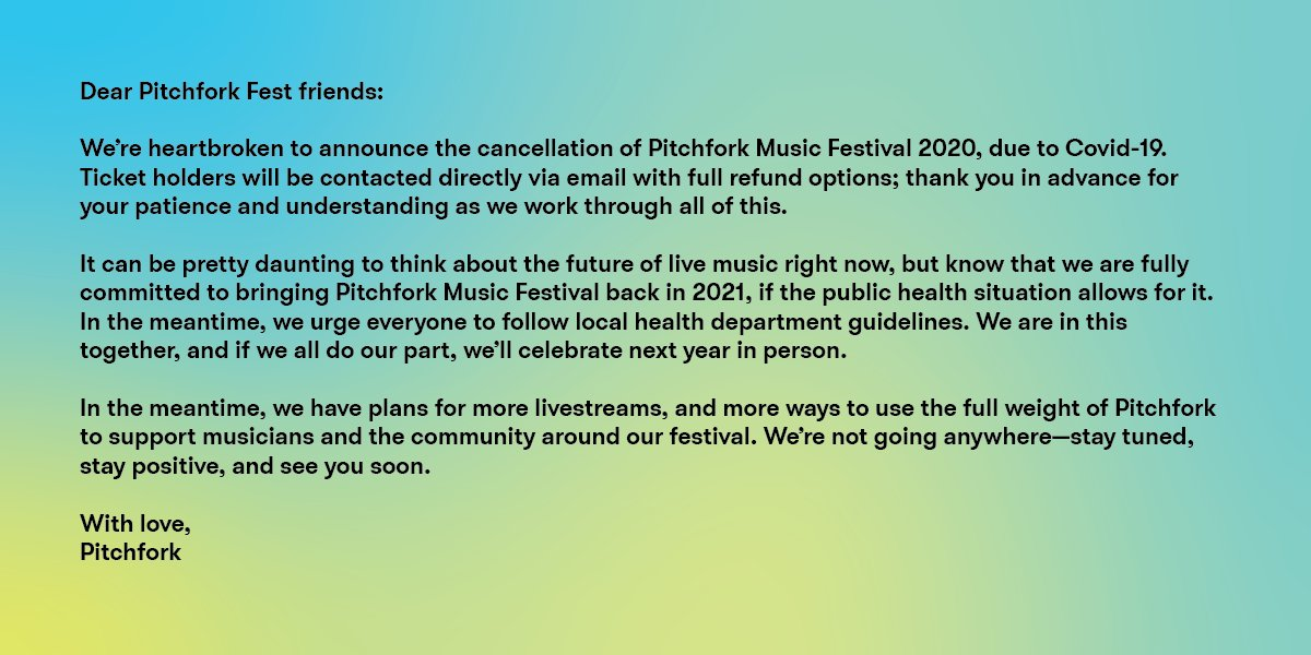 Pitchfork Music Festival 2020 has been canceled