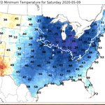Image for the Tweet beginning: The latest NDFD minimum temperature
