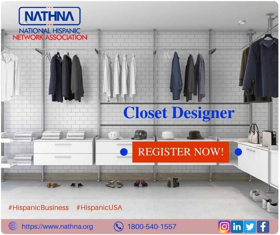 A Closet Designer is someone who helps you find new storage solutions for the items you already own. Visit nathna.org #Nathna #hispanicUSA #Hispanicbusiness #Closetdesigner #Closetorganizer #Wardrobedesigner