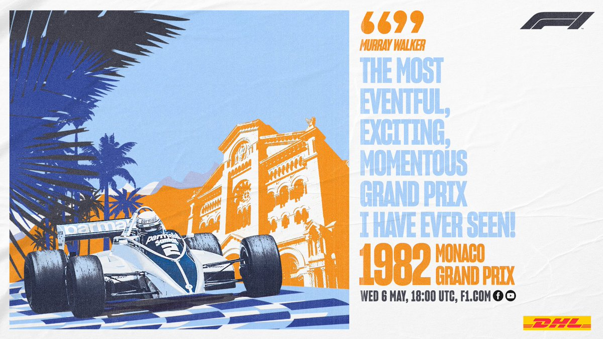 This week's #F1Classics takes us back in time to the wild 1982 #MonacoGP. Memorable #MomentsThatDeliver are awaiting you! Will you join us? #DHLF1 #F1 https://t.co/ZCyKyrGalI