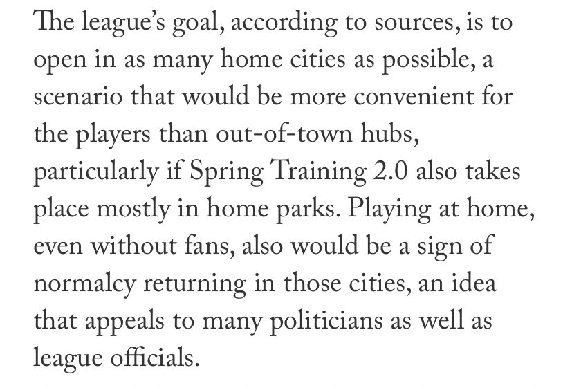 The goal remains to get the teams in their home Ballparks, as it would really help establish a sense of normalcy. #MLB2020 #MLBRegularSeason #MLBUpdate #Covid19Update #KenRosenthal #TheAthletic https://t.co/hhMNagkq8g