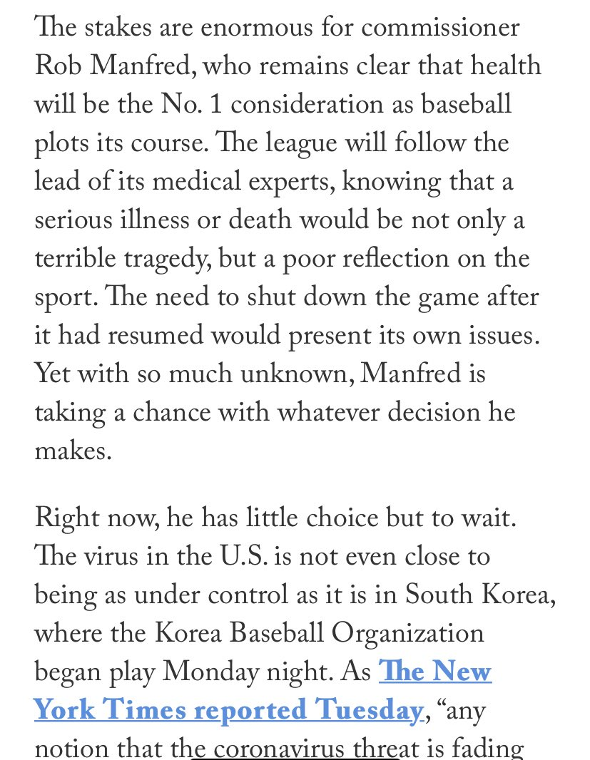 A lot is on the line for Rob Manfred he must handle this properly. #MLB2020 #MLBUpdate #KenRosenthal #TheAthletic #Covid19Update https://t.co/lnoDkUhADz