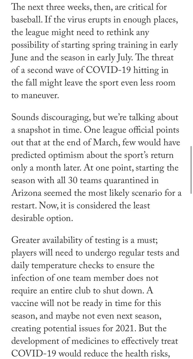 These next few weeks will be critical to see if Baseball can return. Greater availability of testing will be necessary so players can get tested regularly. #MLB2020 #MLBNews #MLBUpdate #KenRosenthal #TheAthletic https://t.co/3yfTPf1o9K