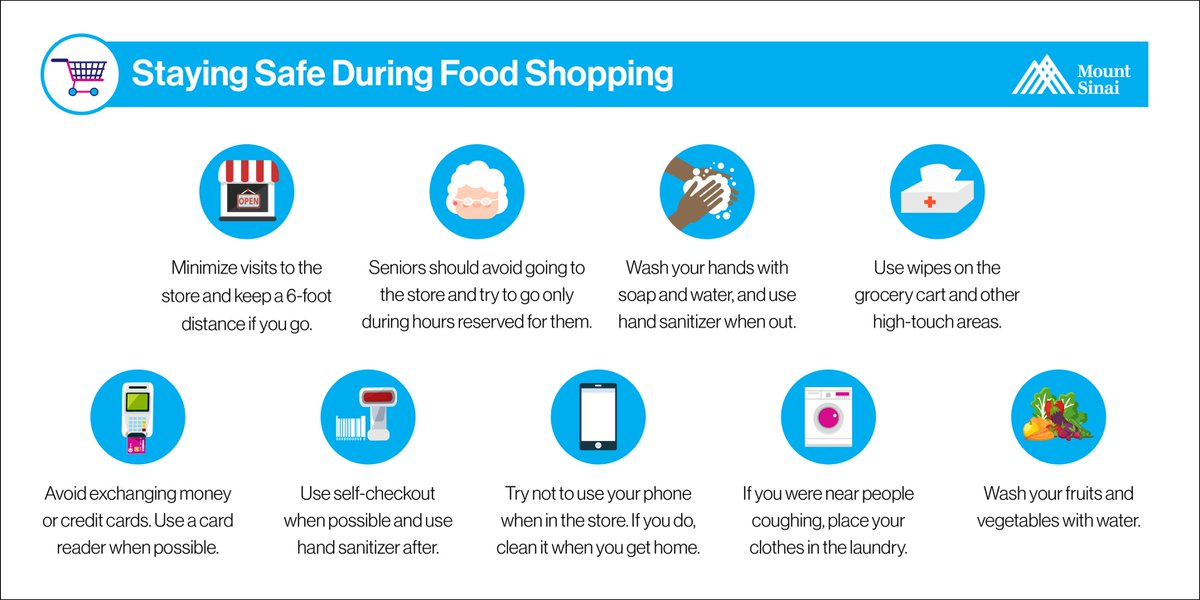 Here are a few helpful tips to stay safe while you food shop: keep a 6-foot distance from others, use self-checkout if it's available, use wipes on the grocery cart, and use hand sanitizer when out. For more #COVID19 safety tips, visit: https://t.co/B2zzddrK0n https://t.co/MqOSl3zh0r