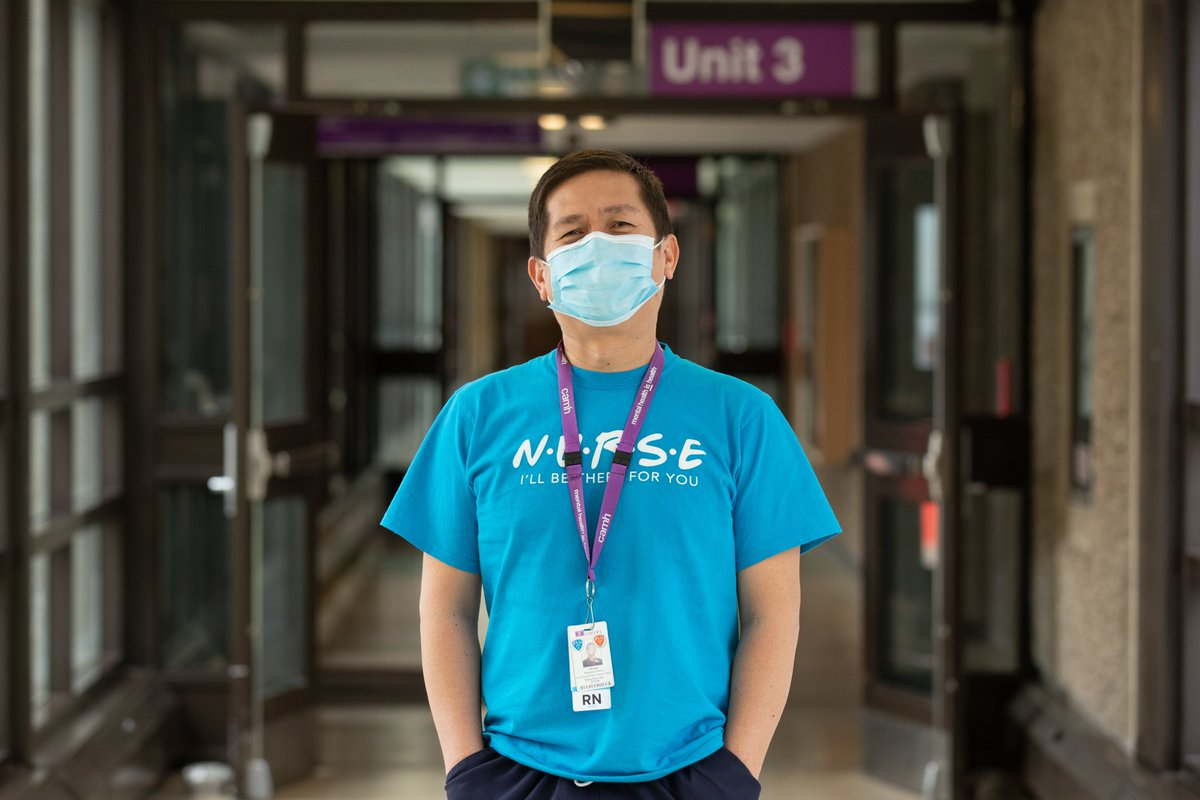 #Nurses at CAMH have been redeployed to support various units during #COVID19, handling their reassignments with grace & embodying patient-centred care. Meet Michael, one of our #Healthcareheroes: https://t.co/XN0b4YxrfI  #FacesOfCAMH #Mentalhealthweek #MentalHealthIsHealth https://t.co/iT0ga3W0UL