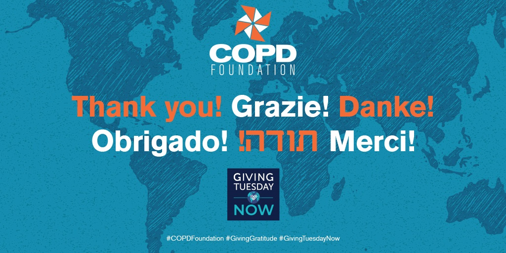 You came together yesterday as a powerful community to make #GivingTuesdayNow special, for which we are profoundly grateful and fortunate. Our commitment to you is to push our scientific research, community and policy programs forward. Your gifts make this all possible. #COPD https://t.co/EsC7DClK5S