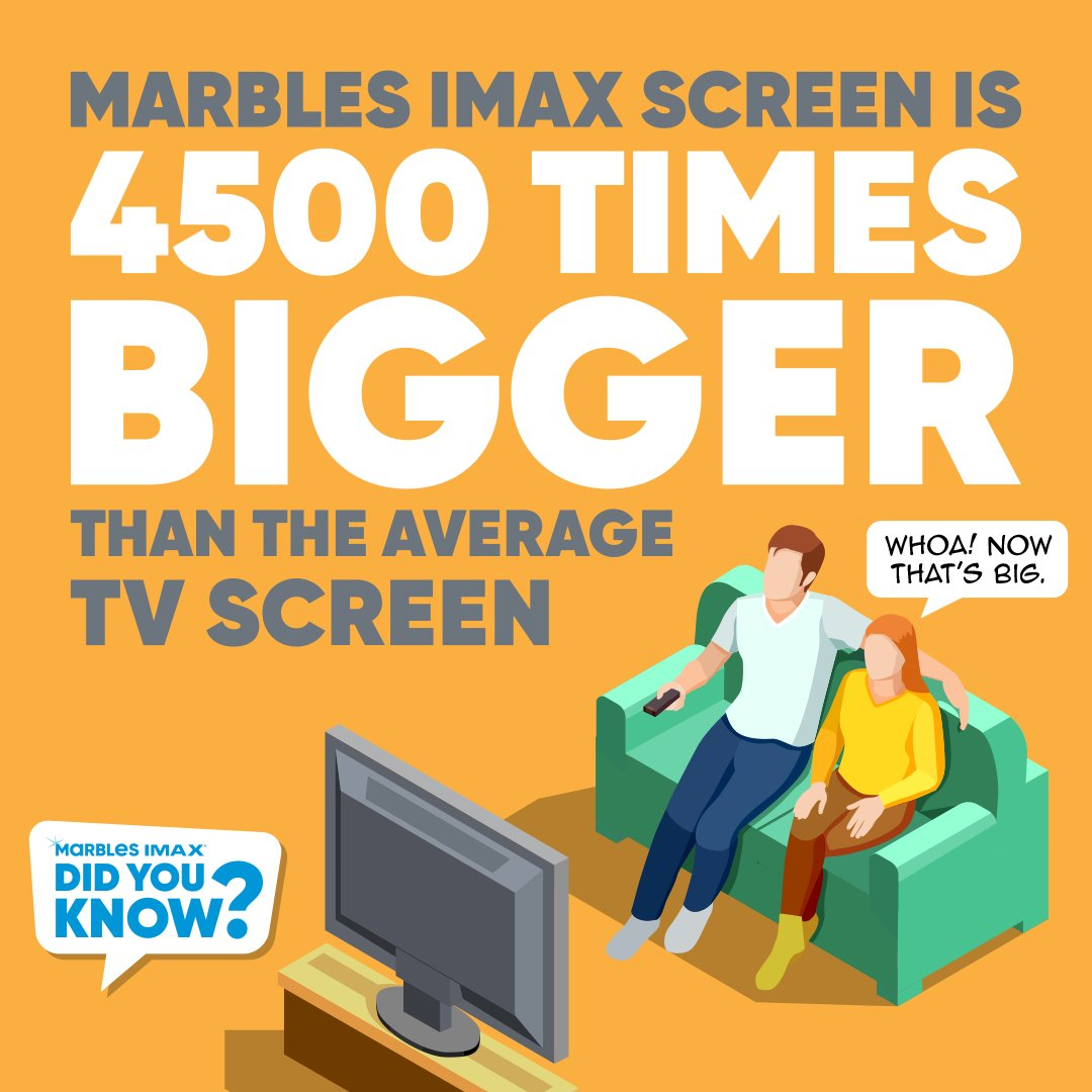 Did you know? Marbles IMAX Screen is 4,500 times BIGGER than the average TV Screen!  Movies are watched. But seeing a movie in an IMAX® theatre is so much more. That's what we call The IMAX Experience®.  What movies have you seen at Marbles IMAX?   #MarblesIMAX #IMAX #GiantScreen https://t.co/yH9xPPgHTy