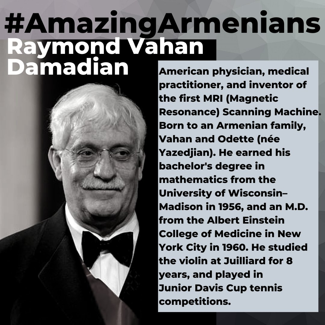 During this time, we are especially grateful for the Medical Professionals who are on the front lines.  Here's #AmazingArmenian Dr. Raymond Vahan Damadian, inventor of the MRI!  #Armenian https://t.co/pfF8RgO5Xd