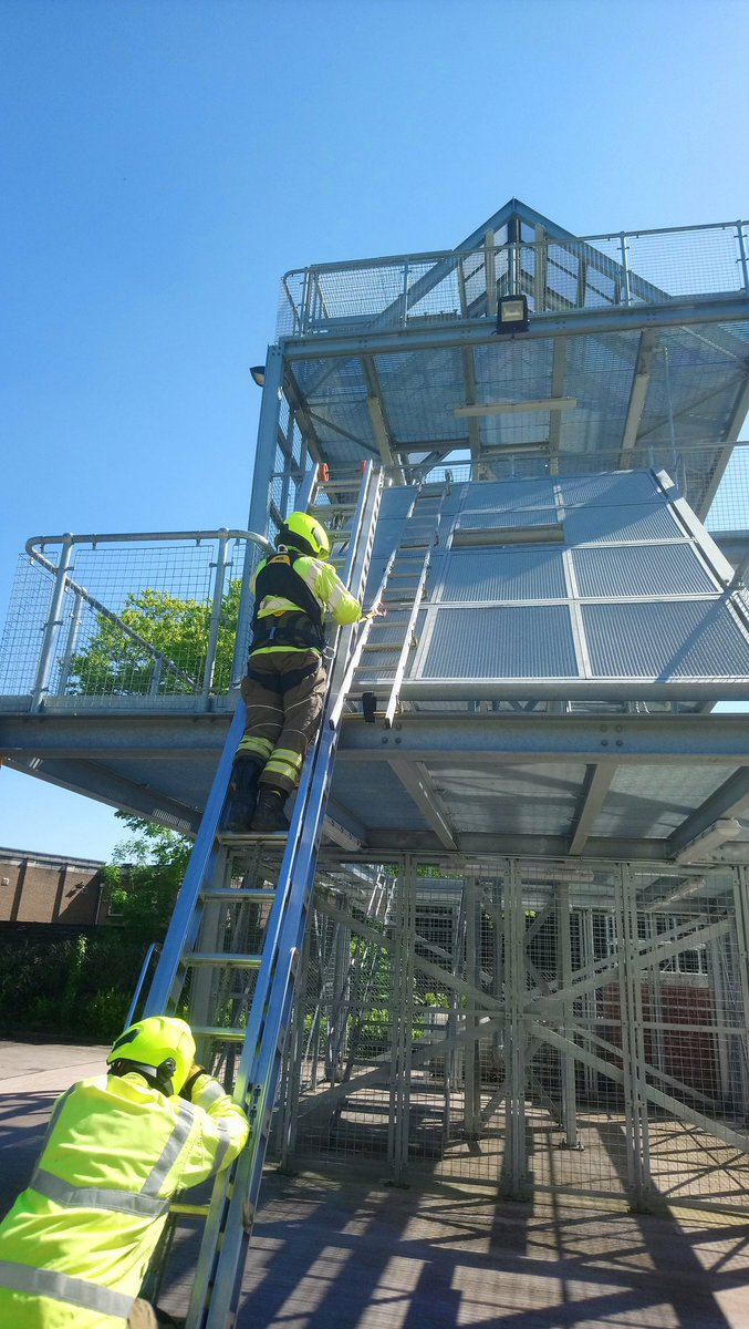 Afternoon training session at Sutton Coldfield. Roof ladder use with working at height safety equipment.