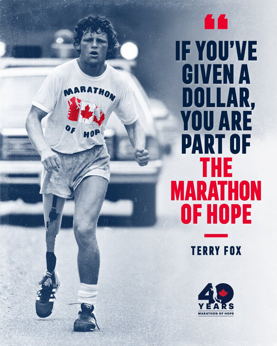 40 years ago, Terry Fox set a goal of raising $1 for every Canadian, which he would see realized on February 1, 1981. Today, we carry Terry's mission forward by giving Canadians another opportunity to raise money for cancer research.   Stay tuned for more updates to come.🇨🇦 https://t.co/Z6WdgxBZ9f