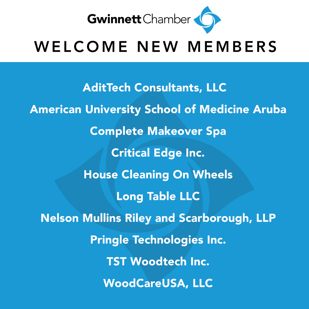 Welcome to our new Gwinnett Chamber members! Keep these businesses in mind and help us give them a warm welcome!