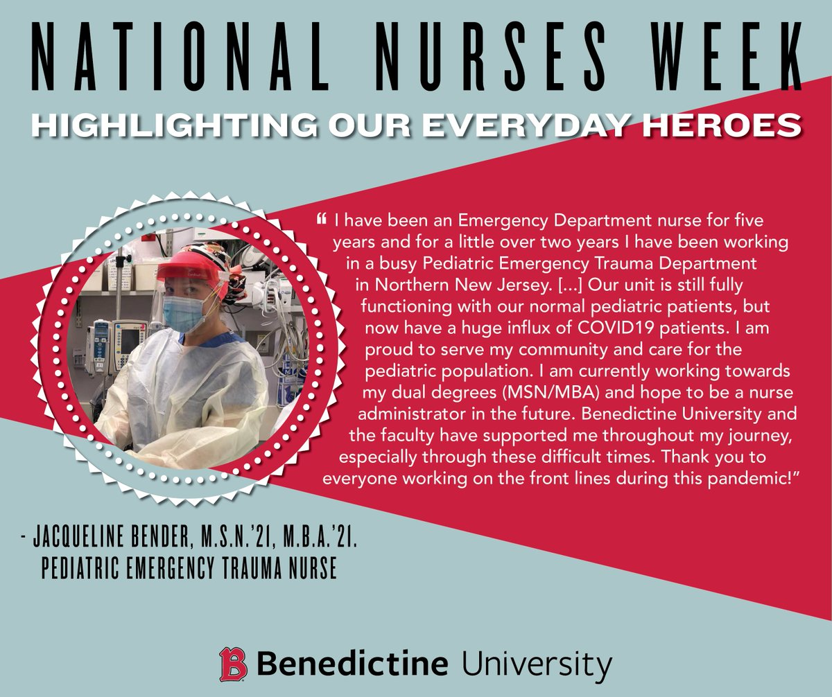 Today kicks off #NationalNursesWeek! Now more than ever, we are so grateful for the care, compassion & bravery of the nurses who keep us safe. We're especially proud of our students & alumni, like Jacqueline Bender, who are on the front lines of the pandemic. #ThankYouNurses ❤️🏥 https://t.co/jhPG5u3sVW