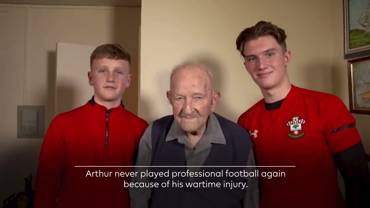 As tomorrow marks 75 years since the end of World War Two, we revisit the morning these Academy players spent with Arthur House, a war veteran and former @SouthamptonFC goalkeeper 🎥 Filmed prior to current rules around social distancing #VEDay75 ➡️ premierleague.com/news/1663454