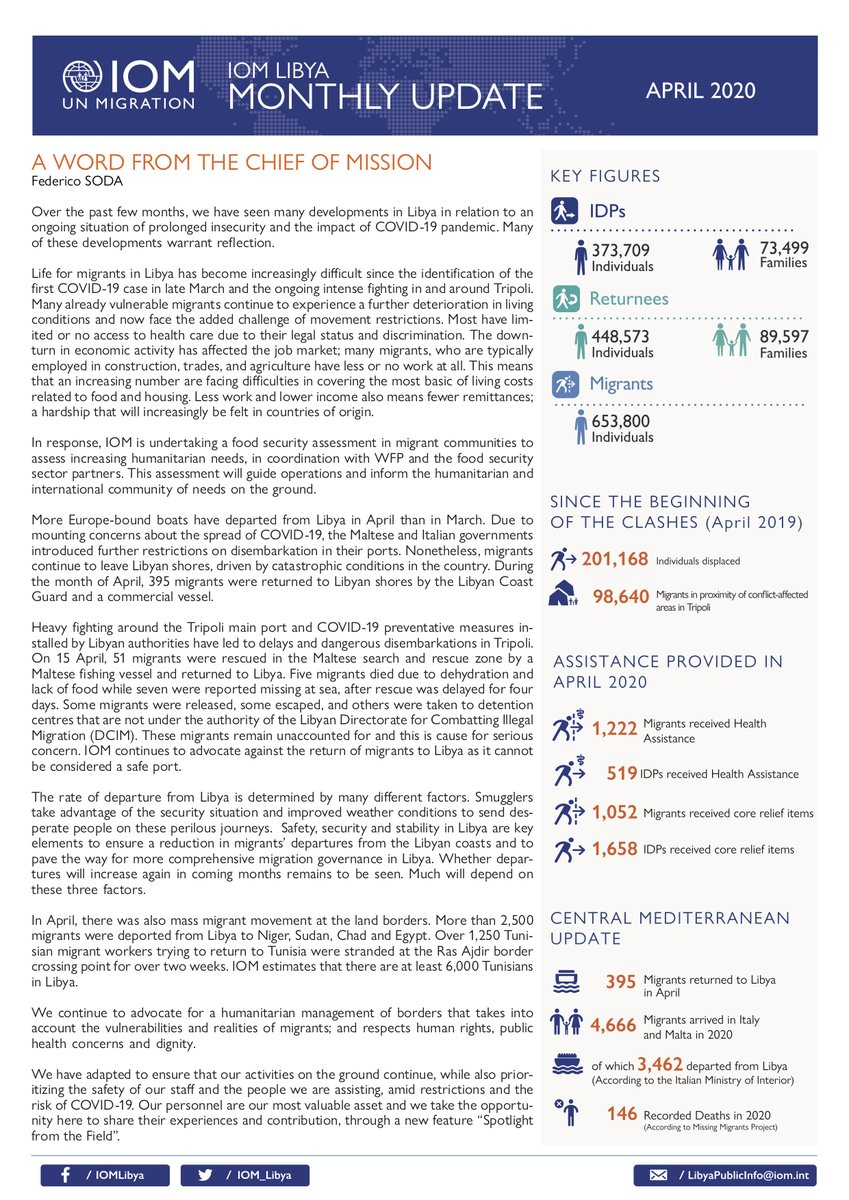 IOM Libya's Monthly Update for the period of 1-30 April 2020 is out.