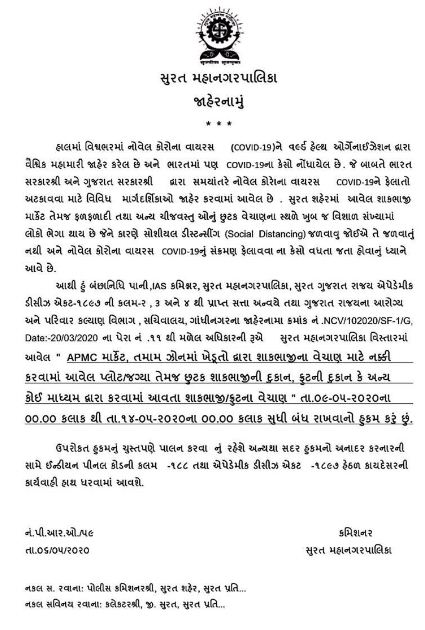Vegetables and fruits selling banned in Surat during 9-14 May