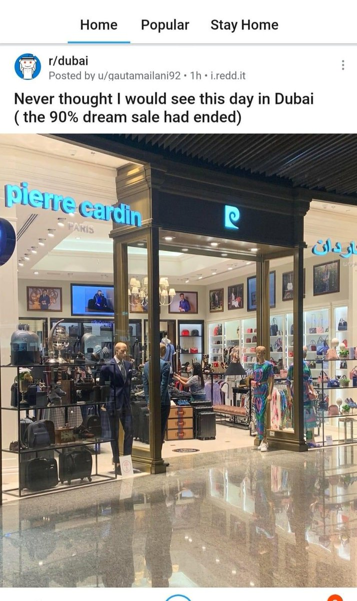 when i lived in Dubai between 2013 - 2019 there was always a 90% sale on at Pierre Cardin which finally seems to have come to an end pic.twitter.com/WtZluFFBBj