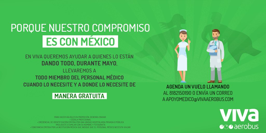 ¡Nuestro compromiso es con México! Por ello, queremos apoyar al personal médico cuando y a donde lo necesite con transportación gratuita durante Mayo 2020. ✈️ Si cuentas con los requisitos, ¡contáctanos! #VivaContigo #VivaPorMéxico https://t.co/Z3nXW2KXLy