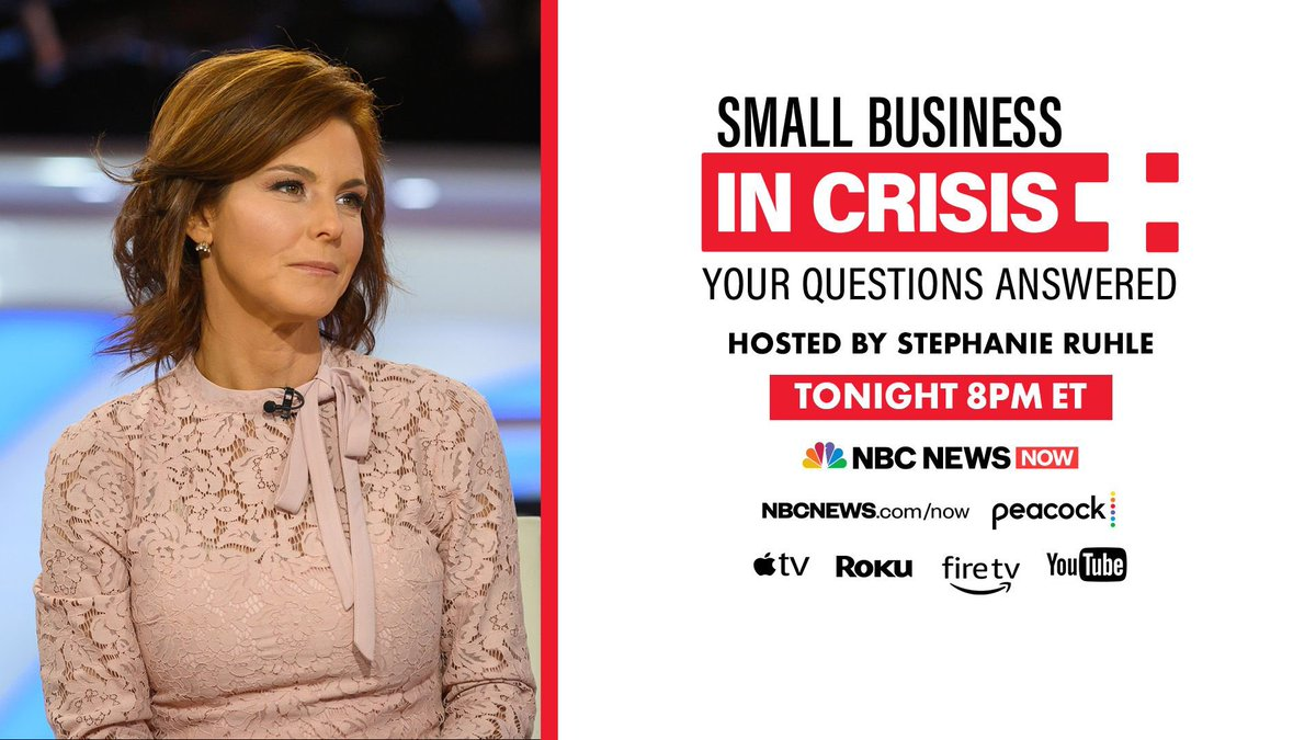 JOIN ME tonight for a @NBCNewsNow Special — Small Business in Crisis: Your Questions Answered   You'll be hearing from @Angie_Hicks, @KatColeATL, @alexisohanian, @marrc, @Benioff and more — you don't want to miss it!   TUNE IN at 8 PM EST https://t.co/4Ygz1AeXhi