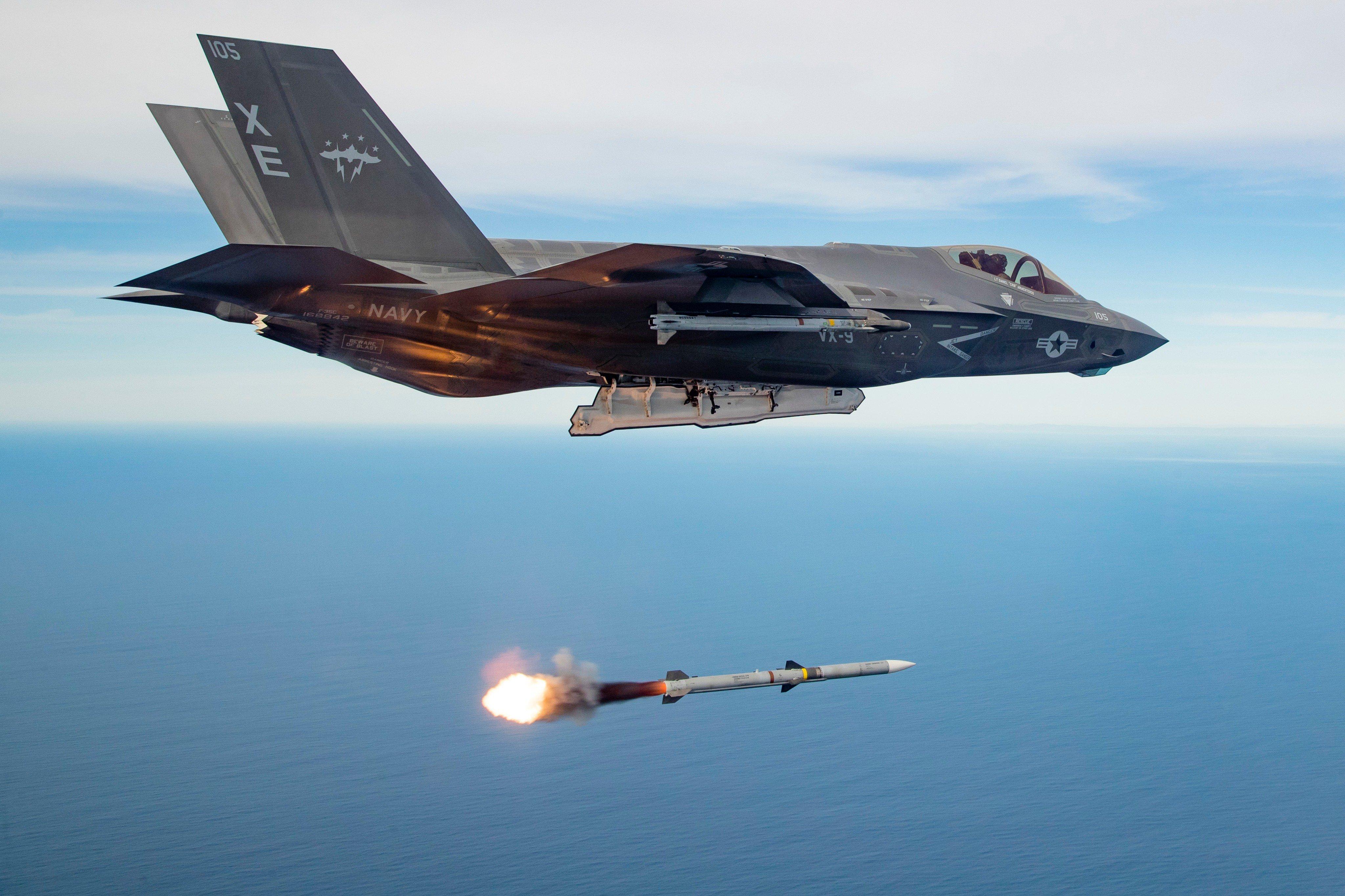 F-35C firing an AIM-120 missile