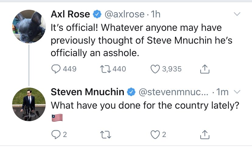 Mnuchin Gets Into Twitter Spat With Guns N' Roses Frontman