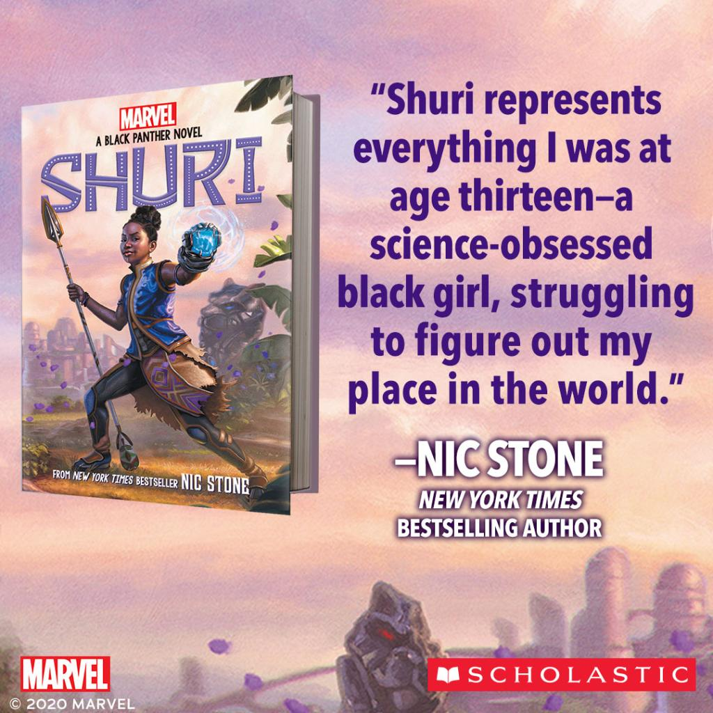 """A warm Wakandan welcome to Nic Stone (@getnicced)! The new original Black Panther novel """"Shuri"""" is available now from @Scholastic. https://t.co/vkWjLF3eIr"""