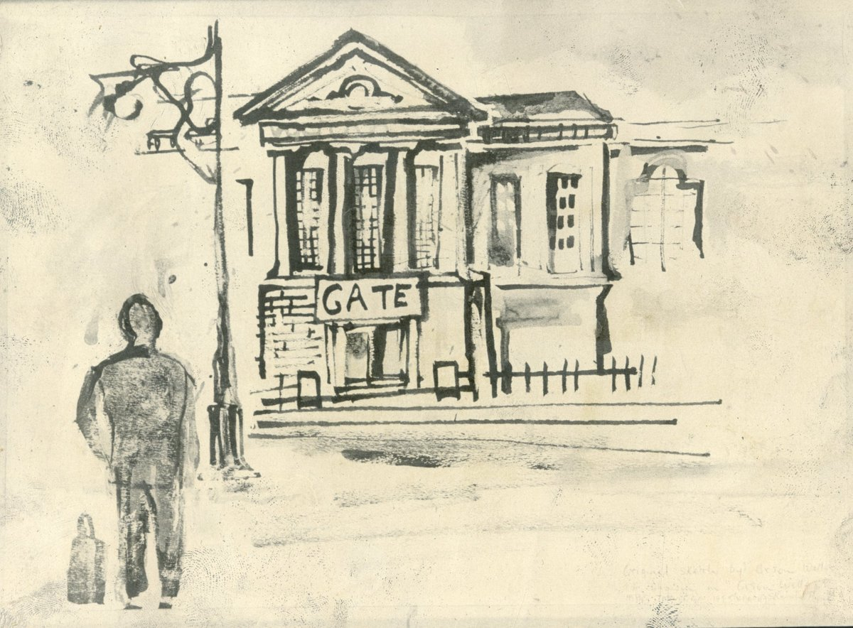 Happy 105th birthday to the amazing actor, writer, and director Orson Welles! Orson made his acting debut at the Gate Theatre and the rest is history! Here is a self portrait of Orson approaching the Gate from Dublin City Library & Archive. #GreatTheatreWillPrevail 🎂🎉