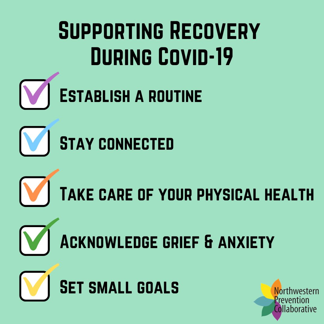 Staying safe and staying connected are important components of recovery in this time. Here are some recommendations for supporting your recovery: #Everyonehasarole https://t.co/IUG4edib5k
