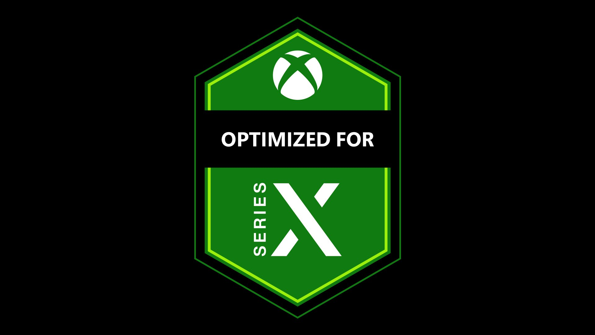 "A black background with a green badge, the top of the bag has the Xbox nexus, with text reading ""Optimized for Series X."""