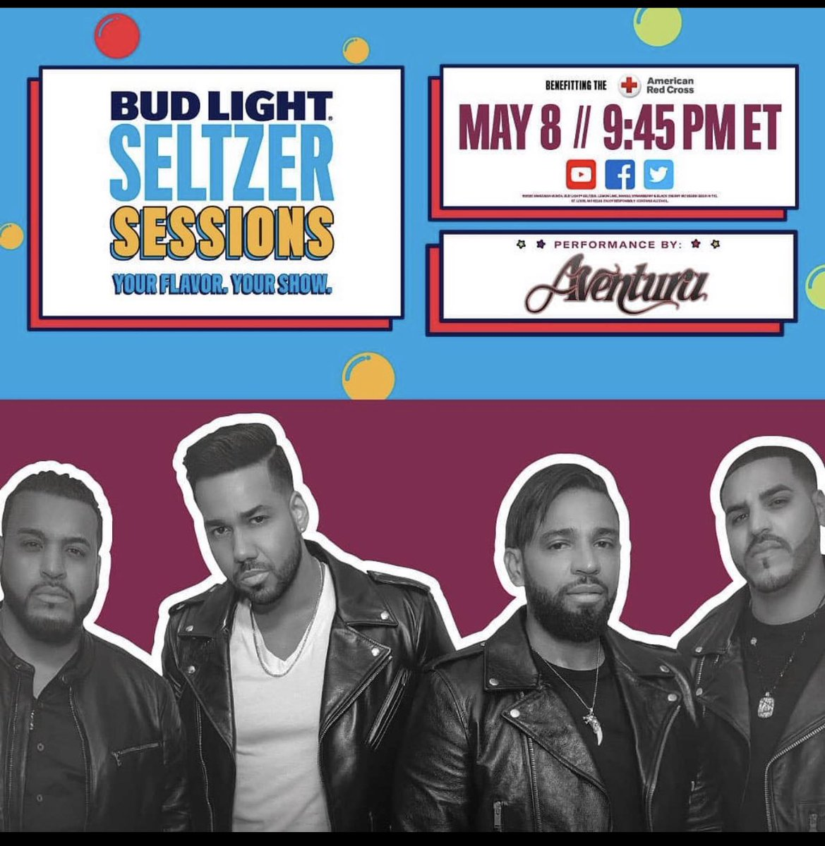 This Friday at 9:45 pm EST @romeosantos will be live on Facebook with @aventura part of the Seltzer Sessions @BudLight! #RomeoSantos #Aventura #UTAMusic