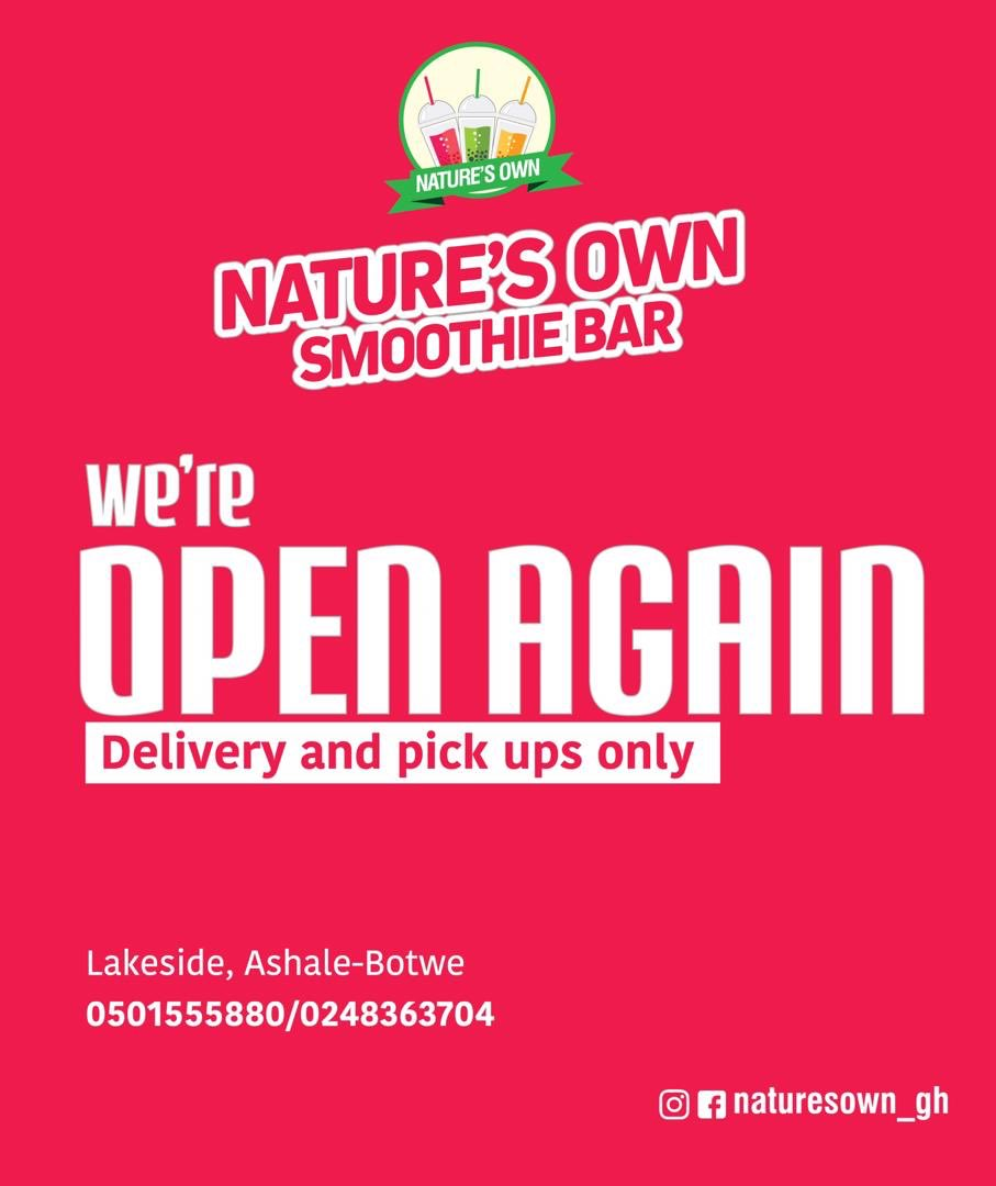 Ashale Botwe and Lakeside, we are here!!! We are 200 meters from the lakeside taxi rank.  Our branch at East Legon has now been moved to Adjringano, inside the Gold's Gym building. 2nd Floor.  Kindly call 0501555880 to place your orders.   Nature's Own, Burst Of Joy https://t.co/z9eF0NgYxB