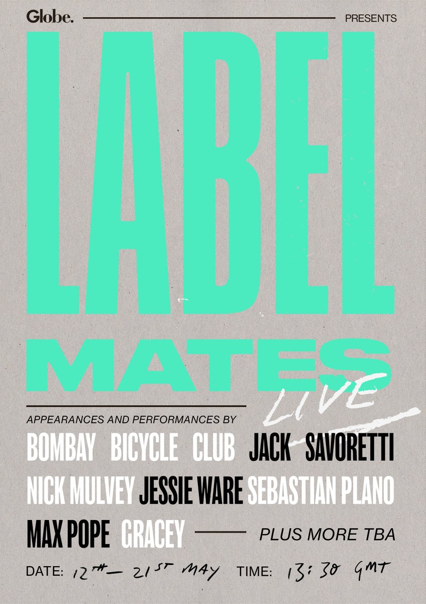 Excited to announce @UMusicGlobeUK's Label Mates Live! Weekdays between 12th-21st May our @UMusicuk labels will be hosting exclusive online performances including @JackSavoretti @JessieWare @BombayBicycle  @nickmulveymusic & many more TBA!🎶Keep an eye out for more 👀🎉 https://t.co/rBuIT0LYkm