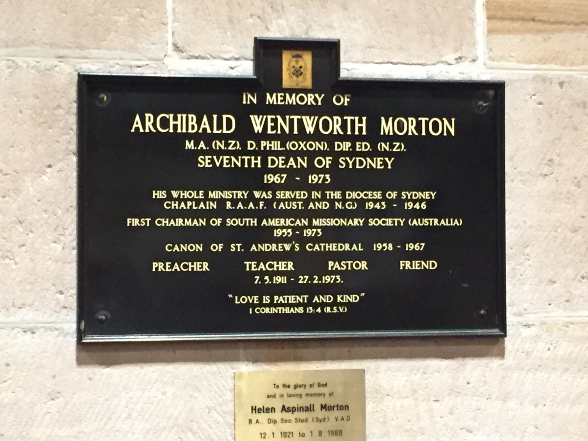 7 May 1911: birth (Hamilton NZ) of Archibald Wentworth Morton, who served @SydneyCathedral as seventh Dean of Sydney 1967-1973. A specialist in inner-city ministry. #anglican @SydAnglicans #109years https://t.co/JFuJ68bOYs