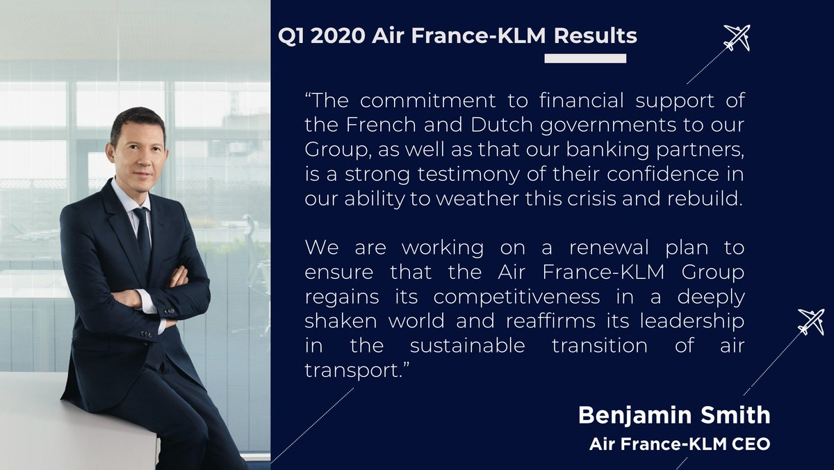 The #AirFranceKLM Group had a promising start to the 1st quarter in line with the objectives of the strategic plan presented in Nov 2019.  However, the acceleration of the Covid-19 crisis in March had a strong impact on the Group's first quarter results. https://t.co/iFaNENc3JI https://t.co/NI7g0wxtVt