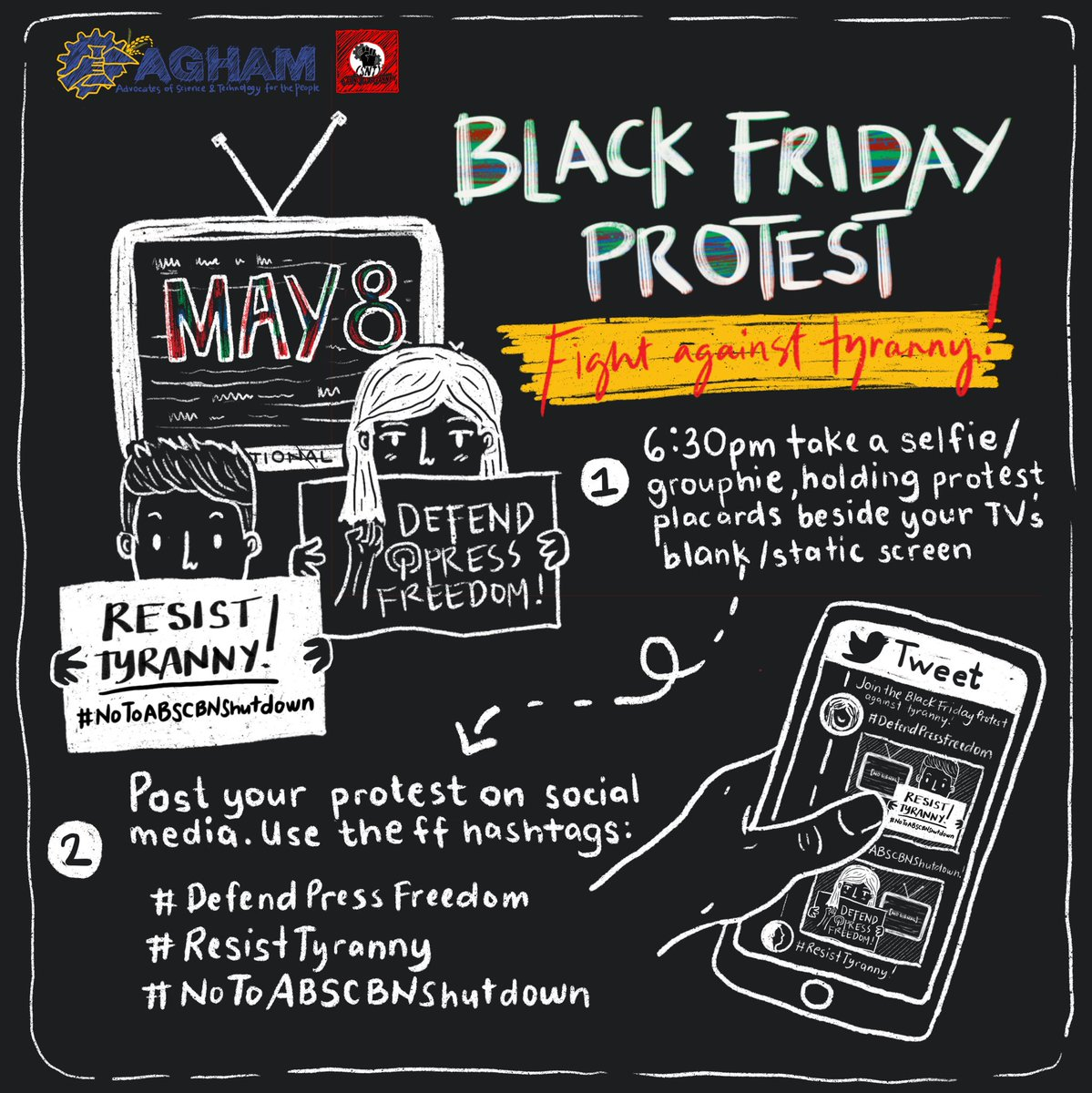 Tom (May 8) | 6:30pm onwards, let's drum our calls for freedom and democracy as we join the the #BlackFridayProtest against tyranny.   #DefendPressFeedom #ResistTyranny  #NoToABSCBNShutDownpic.twitter.com/ueNdNbrHAe