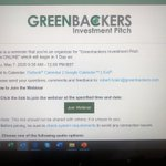 Image for the Tweet beginning: ⁦@GreenbackersIC⁩ live online investment pitch