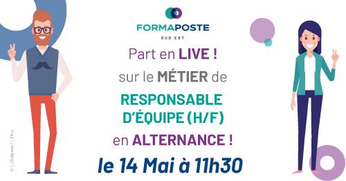 💬 #LIVE #alternance : @Formaposte Sud-Est organise un Facebook Live sur #métier de Responsable d'équipe en alternance le 14 mai à 11h30.  Formation en Contrat d'apprentissage ou de professionnalisation. Bac+2 ? Votre profil nous intéresse ! En savoir + 👉 https://t.co/1NsRF4RoQn https://t.co/GYsLYTUfVe