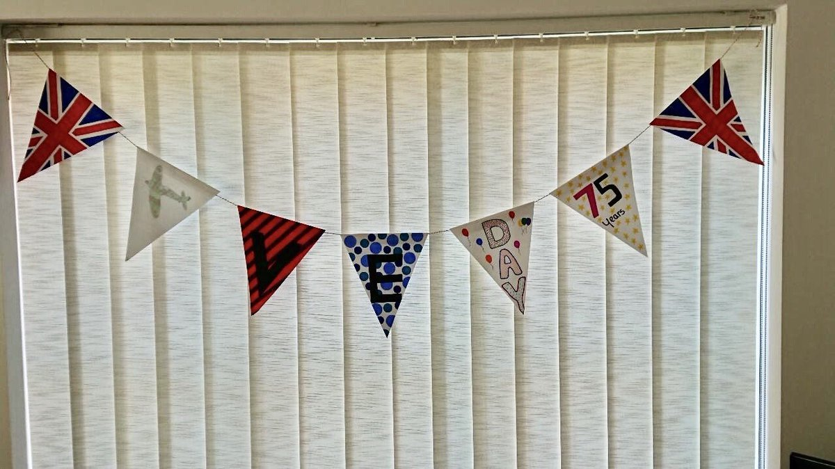 Hanna's VE Day bunting has turned out very well. #LshsExcellence