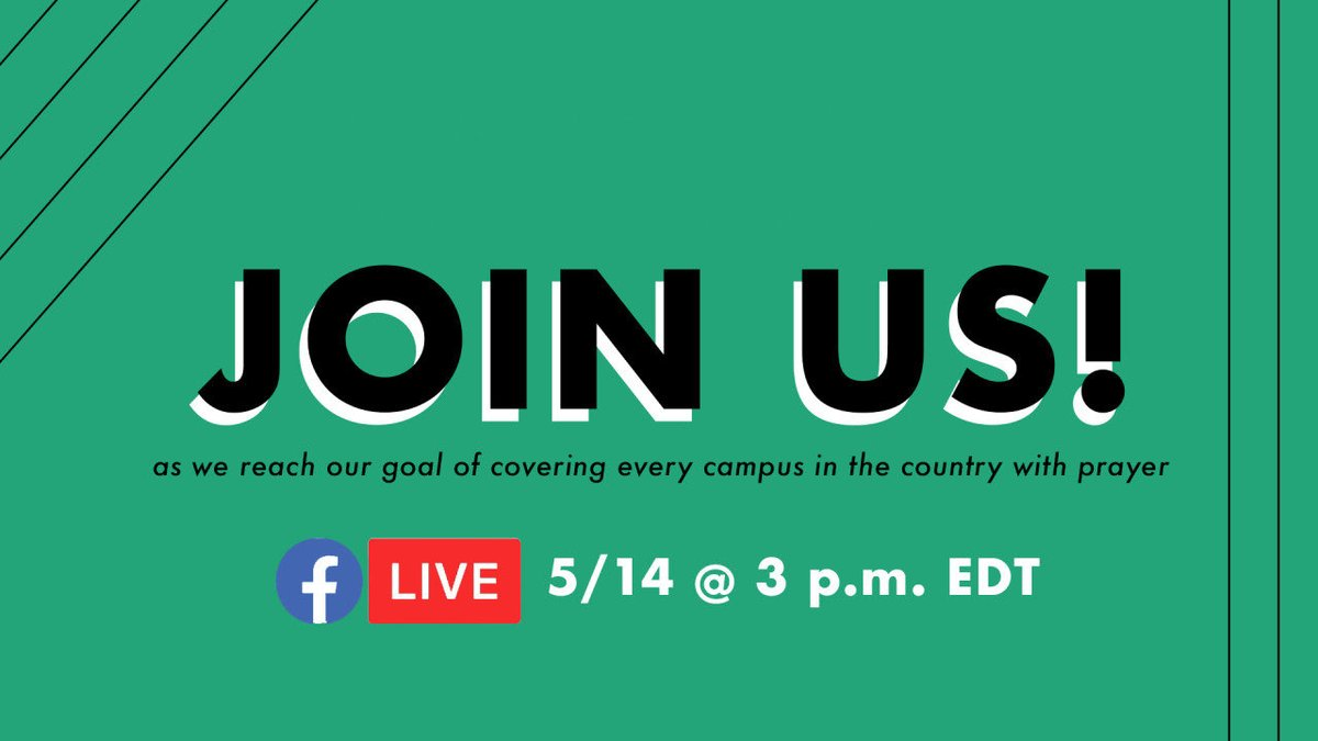 #Revival starts with #prayer We are proud to be a part of the #EveryCampus movement. Will you join us today at 3pm ET to celebrate this accomplishment?! 🎉🙏 https://t.co/tNvj8a7OXI