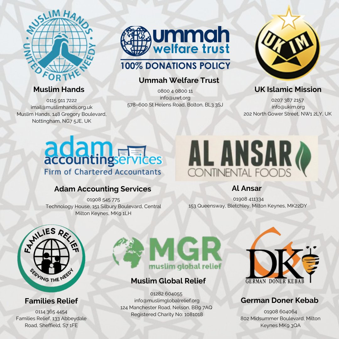 A HUGE thank you to all of our sponsors💫  Please consider giving your Zakat to one of our charity sponsors: @muslimhandsuk @MGR2009 @UWT_UK @UKIMofficial @FamiliesRelief   And don't forget to check out offers from @GermanDoner_UK  Adam Accounting, and Al Ansar Continental Foods https://t.co/Ms86CDxIzK