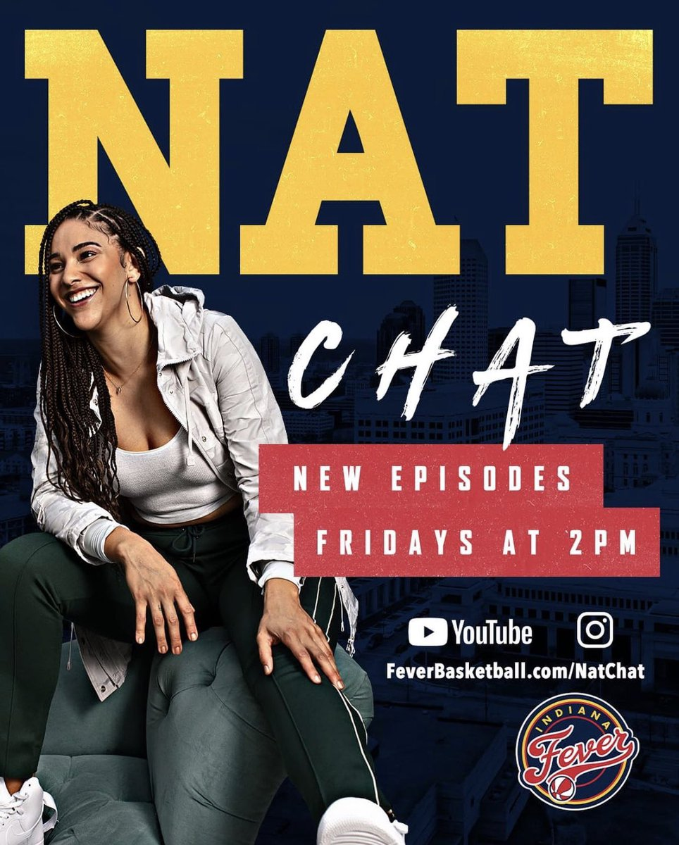 🚨 NEW TALK SHOW ALERT🚨   @NatAchon of the @IndianaFever announced her new YouTube show 'NAT CHAT' which debuts tomorrow at 2PM EST with special guest @ndwbb Head Coach @IrishCoachIvey.   #wnba #indianafever #thisisballin https://t.co/nicKjvKkKs