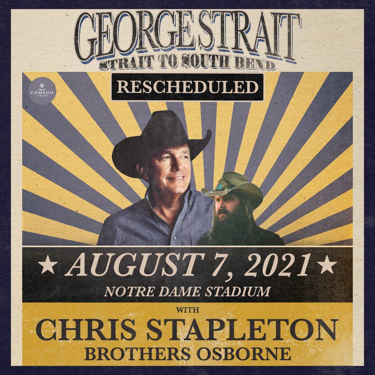 George Strait postpones Notre Dame Stadium concert to 2021 go.nd.edu/e7eece