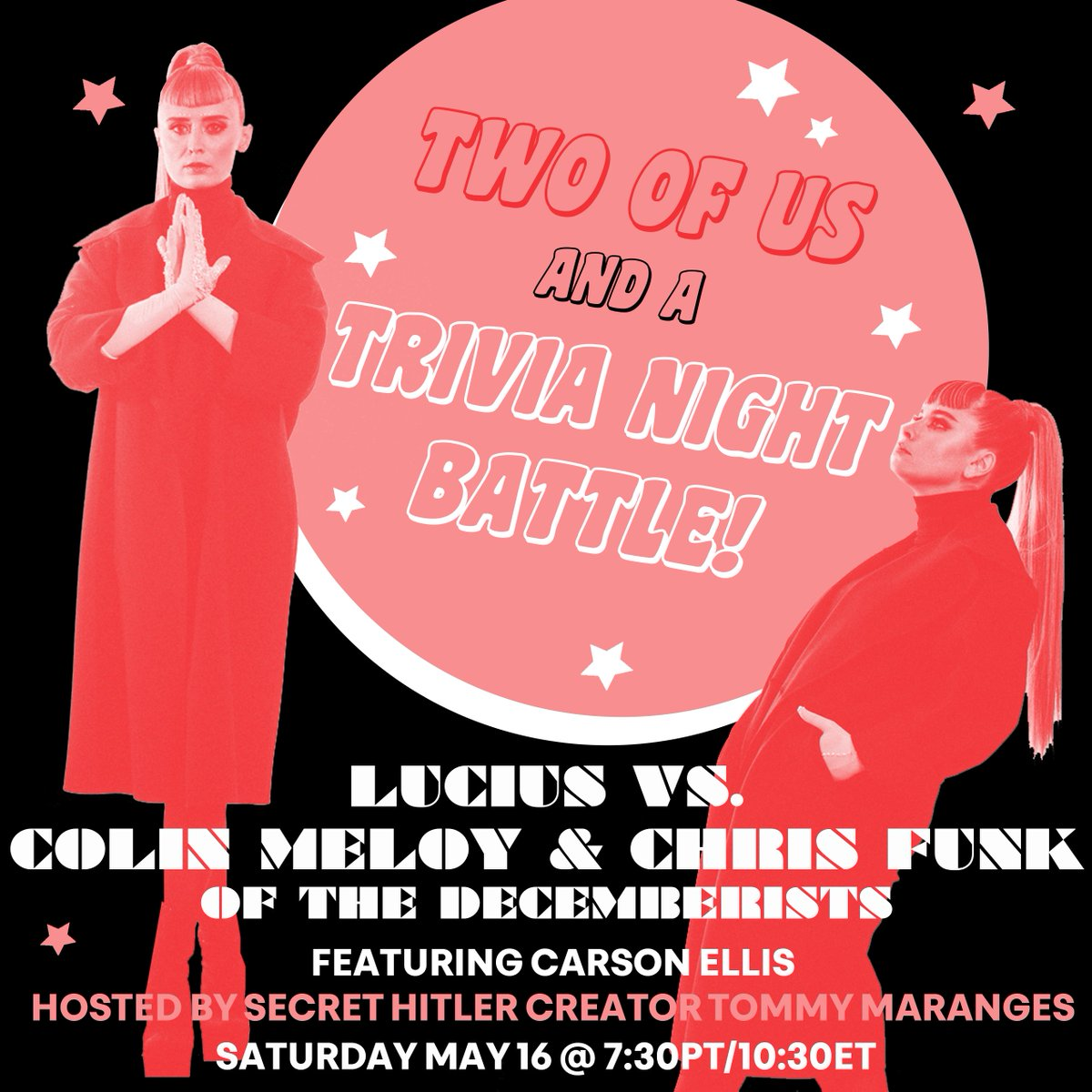Join us this Saturday for a trivia night battle between Lucius and Colin Meloy & Chris Funk of @TheDecemberists! ⁣⁣Follow along and keep score against these fine musicians in a battle of the dystopian COVID era wits 😷   RSVP for Zoom link to join -> https://t.co/w6ImqkQKJA https://t.co/qqzagNRhsj