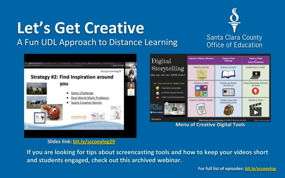 Need some fun and creative activities for the end of the school year? Check out these 3 strategies. 🔗bit.ly/3fO3cuU🔗 #weAreSCCOE #WeAreCUE #distancelearning #UDL #hyperdocs @TsGiveTs