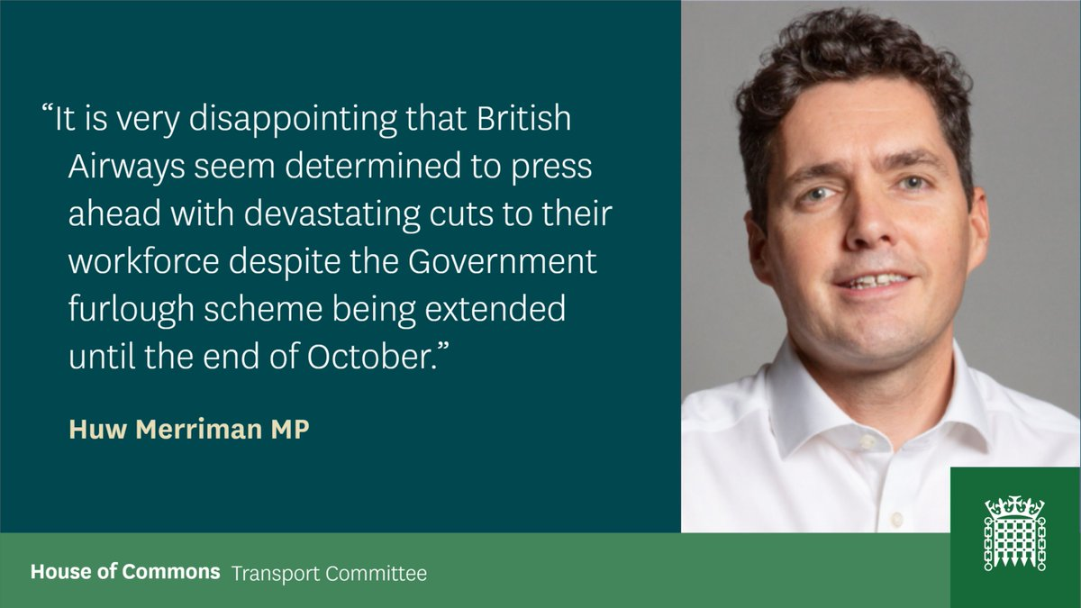Our Chair @HuwMerriman has commented on the conduct of @British_Airways, see below 👇 Read his full comments here: committees.parliament.uk/committee/153/…